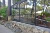 Cafe with glass curtain wall