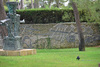 Background, surrounding wall of the complex, facing the sculpture garden, mosaic reliefs by Pierre Tal-Coat (1964) which cover 50 m