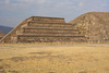"""Adosada (""""attached"""") platform left, and Temple of the Feathered Serpent, right, looking northeast"""