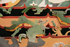 3-D model of the mural, close detail depicting the mythical animals
